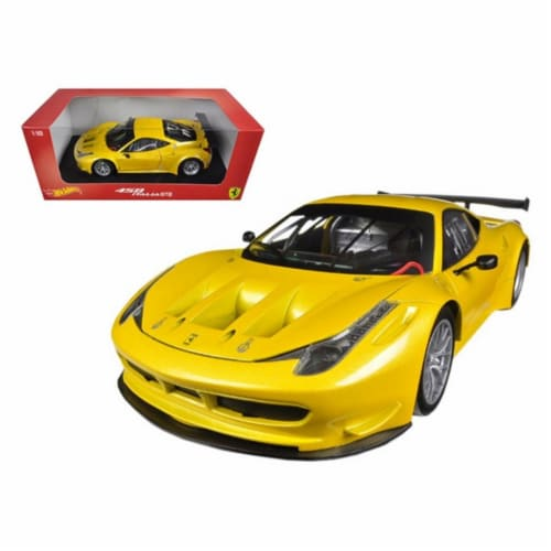 Hot wheels BCJ78 Ferrari 458 Italia GT2 Yellow 1-18 Diecast Car Model Perspective: front