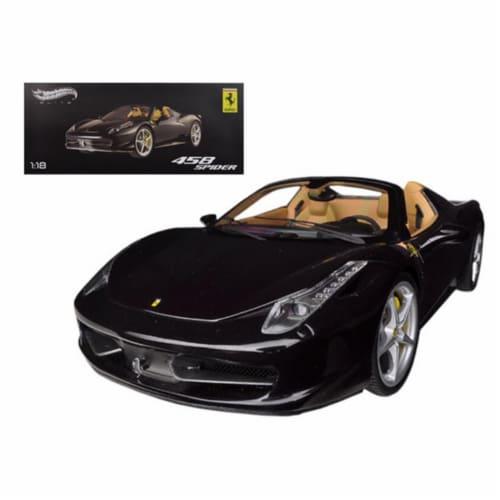 Hot wheels BCJ90 Ferrari 458 Spider F1 Glossy Black Elite Edition 1-18 Diecast Car Model Perspective: front