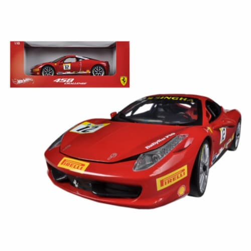 Ferrari 458 Challenge Red #12 1/18 Diecast Car Model by Hotwheels Perspective: front