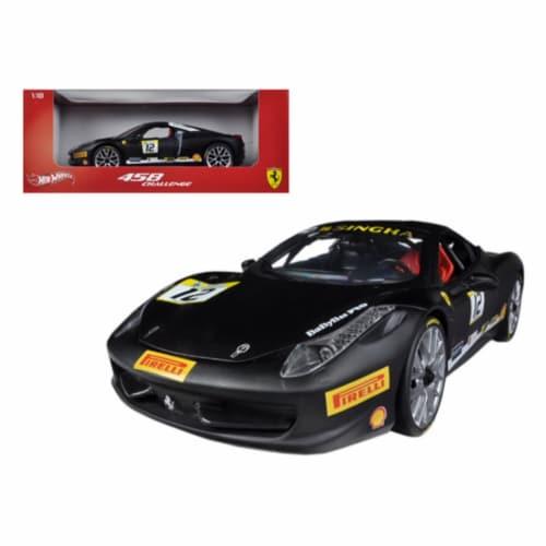 Hot wheels BCT90 Ferrari 458 Challenge Matt Black No.12 1-18 Diecast Car Model Perspective: front
