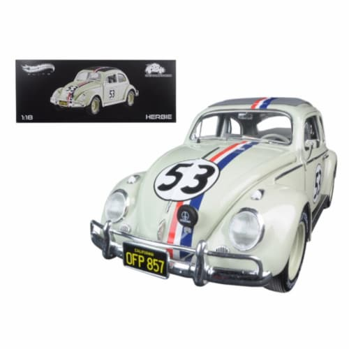 1963 Volkswagen Beetle Herbie Goes to Monte Carlo #53 Elite Edition 1/18 Diecast Model Car Perspective: front