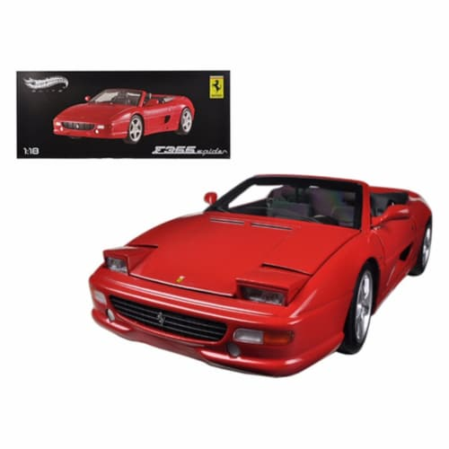 Ferrari F355 Spider Convertible Red Elite Edition 1/18 Diecast Car Model by Hotwheels Perspective: front