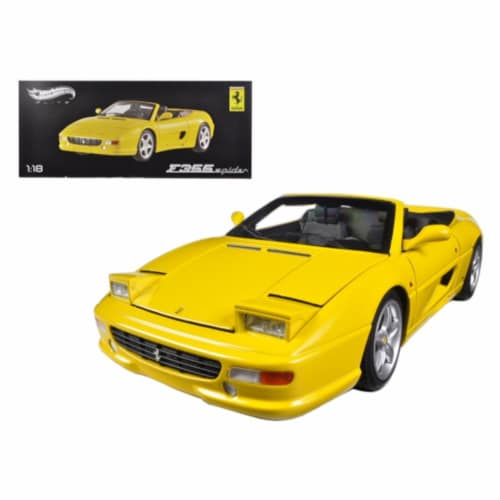 Hot wheels BLY35 Ferrari F355 Spider Convertible Yellow Elite Edition 1-18 Diecast Car Model Perspective: front