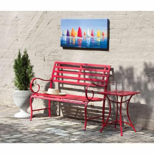 Evergreen Garden Metal Garden Bench - Red Perspective: front