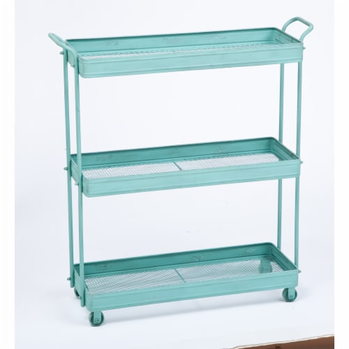 Evergreen Garden Distressed Three Tier Metal Cart with Casters - Blue Perspective: front