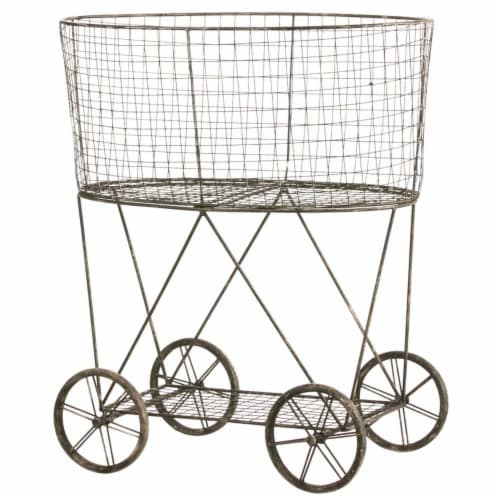 Evergreen Garden Metal Wire Basket on Wheels Perspective: front