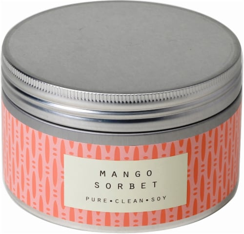 Pure Clean Soy Mango Sorbet 3-Wick Candle Tin - Orange - 14.6 Ounce Perspective: front