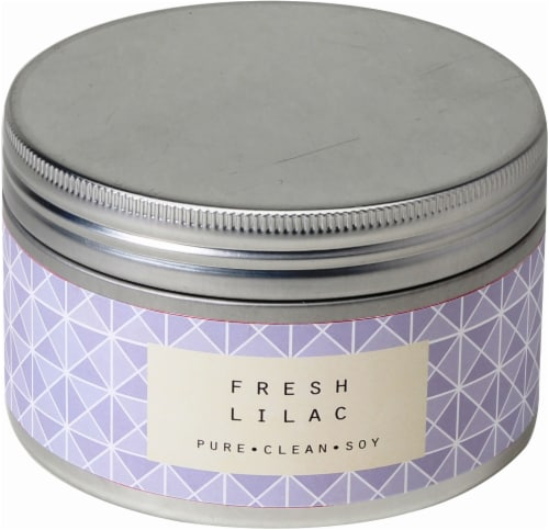 Pure Clean Soy Fresh Lilac 3-Wick Candle Tin - Purple - 14.6 Ounce Perspective: front