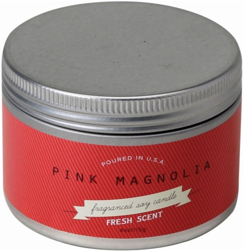 Pure Clean Soy Pink Magnolia Tin Candle - Red - 4.2 Ounce Perspective: front