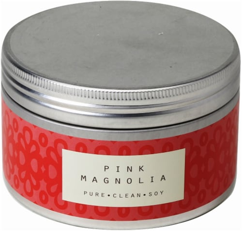 Pure Clean Soy Pink Magnolia 3-Wick Candle Tin - Red - 14.6 Ounce Perspective: front