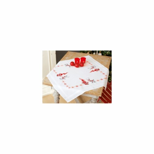 Christmas Elves Tablecloth Stamped Cross Stitch Kit - 32 x 32 in. Perspective: front