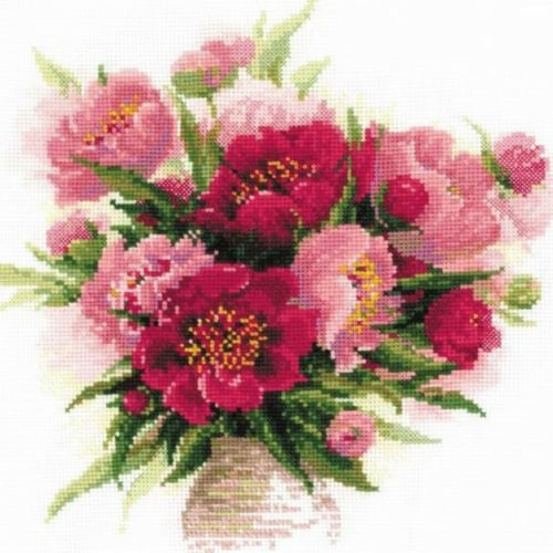 15.75 x 15.75 in. PEONIES IN A VASE CROSS STITCH KIT Perspective: front