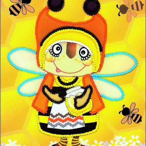 6 x 7 in. Granny Bee Stamped Cross Stitch Kit Perspective: front
