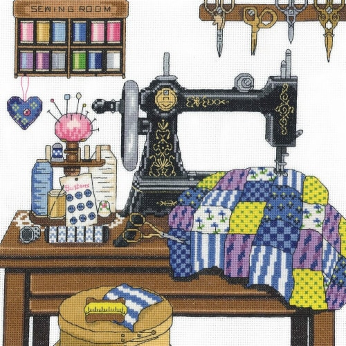 Antique Sewing Room Counted Cross Stitch Kit, 12 x 12 in. - 14 Count Perspective: front