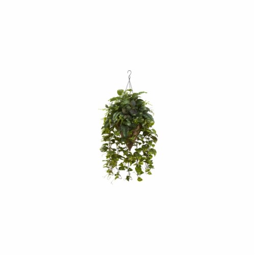 Vining Mixed Greens With Cone Hanging Basket Perspective: front
