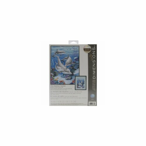 The Dolphins' Domain Counted Cross Stitch Kit-10''X14'' 14 Count Perspective: front
