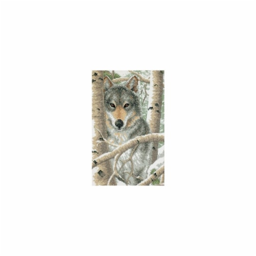 Wintry Wolf Stamped Cross Stitch Kit-9''X14'' Perspective: front