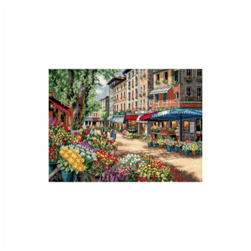 Gold Collection Paris Market Counted Cross Stitch Kit-15''X11'' 18 Count Perspective: front