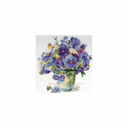 Pansy Floral Counted Cross Stitch Kit-14''X14'' 14 Count Perspective: front