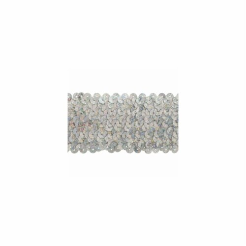 Stretch Sequins 2''X8yd-Silver Holographic Pack Of 8 Perspective: front