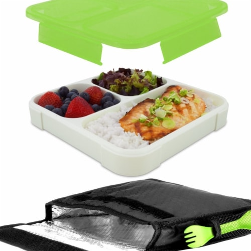 Ultrathin Lunchbook with Insulated Carrying Case - Green Perspective: front