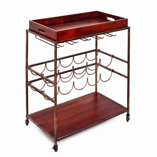 Avalon Wine and Serving Cart, Antique Copper and Rosewood - 28 x 16 x 32 in. Perspective: front