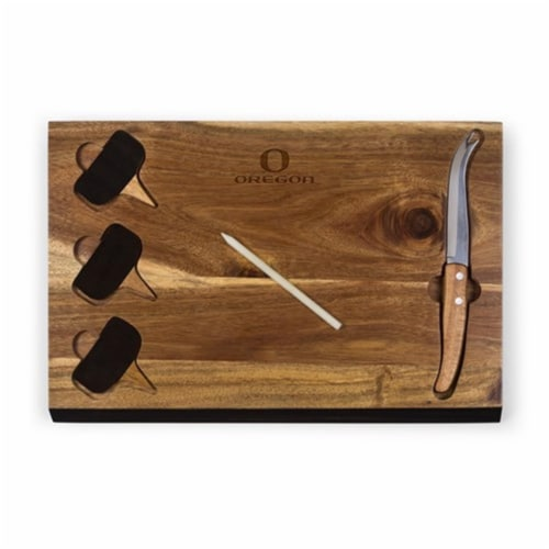 Oregon Ducks - Delio Acacia Bamboo Cheese Board & Tools Set Perspective: front