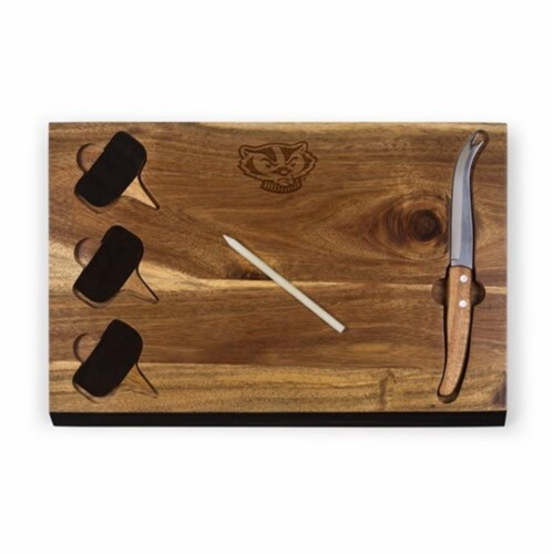 Wisconsin Badgers - Delio Acacia Bamboo Cheese Board & Tools Set Perspective: front