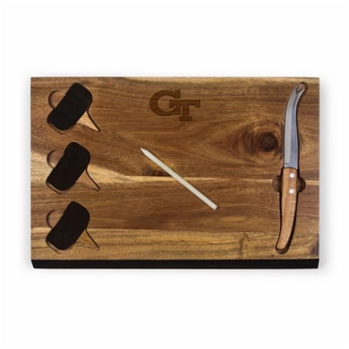 Georgia Tech Yellow Jackets - Delio Acacia Bamboo Cheese Board & Tools Set Perspective: front