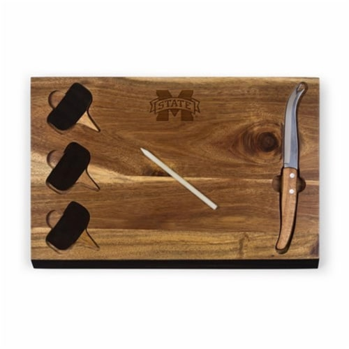 Mississippi State Bulldogs - Delio Acacia Bamboo Cheese Board & Tools Set Perspective: front