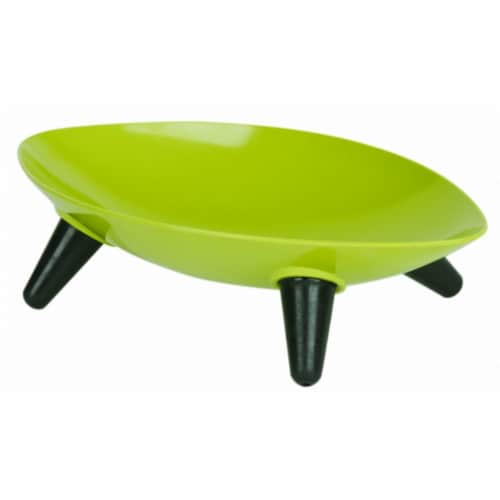 Melamine Couture Sculpture Single Dog Bowl, Oil Green Perspective: front