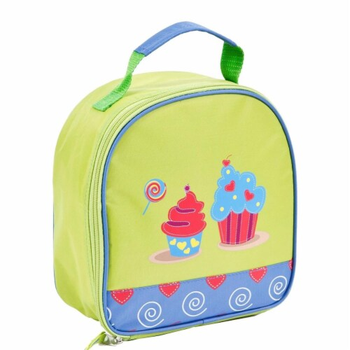 Bright Green & Light Blue Girls Cupcakes Lunchbox Perspective: front