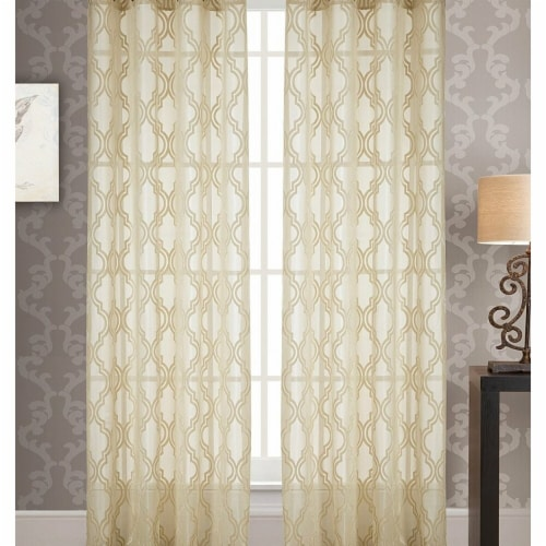 Knox Jacquard 54 x 84 in. Grommet Curtain Panel, Ivory Perspective: front
