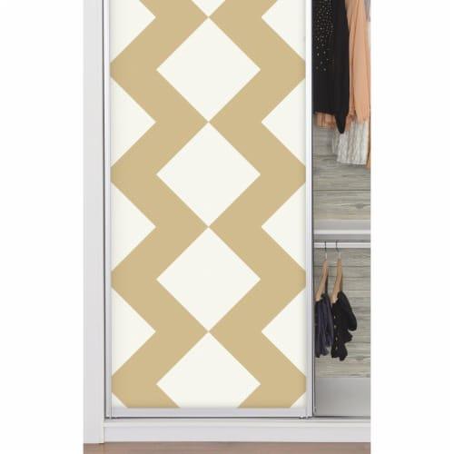 Tan Chevron Peel & Stick Wallpaper - Large Perspective: front