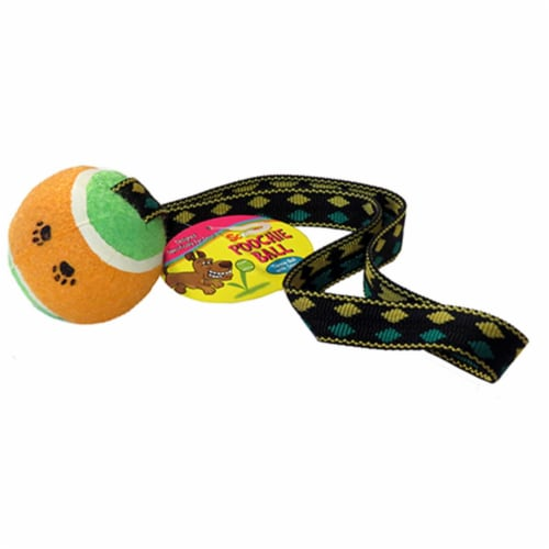 Poochie Tennis Ball with Tug Strap Scoochie Poochie Perspective: front
