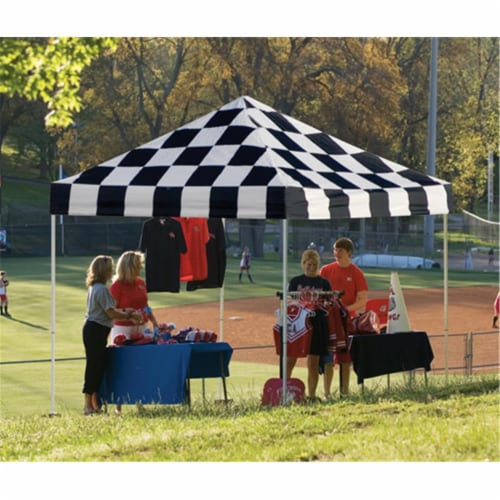 10x10 ST Pop-up Canopy  Checkered Flag Cover  Black Roller Bag Perspective: front