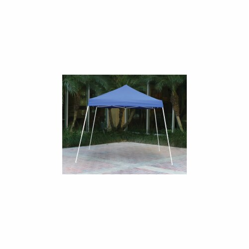 10x10 SL Pop-up Canopy  Blue Cover  Blue Roller Bag Perspective: front