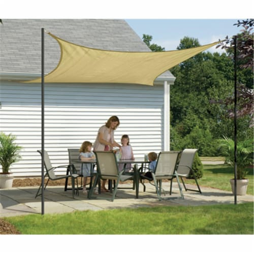 12 ft. - 3 7 m Square Shade Sail - Sand 230 gsm Perspective: front