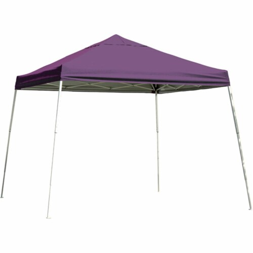 12x12 SL Pop-up Canopy, Purple Cover, Black Roller Bag Perspective: front
