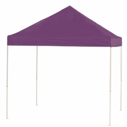 10x10 ST Pop-up Canopy, Purple Cover, Black Roller Bag Perspective: front