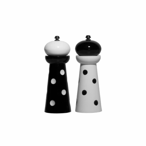 2 Piece Acrylic Salt & Pepper Mill; Black Dots Set Of 2'' Perspective: front