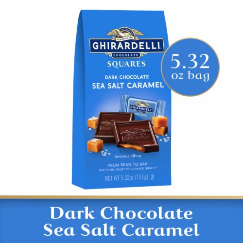 Ghirardelli Sea Salt Caramel Filled Dark Chocolate Squares Perspective: front