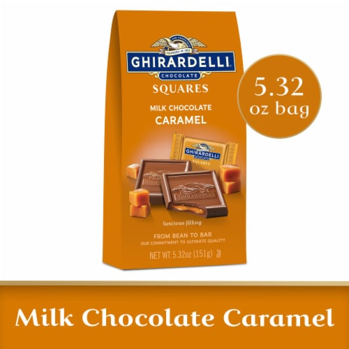 Ghirardelli Milk Chocolate with Caramel Filling Squares Perspective: front