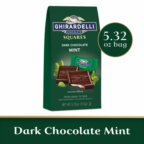 Ghirardelli Mint Filled Dark Chocolate Squares Perspective: front
