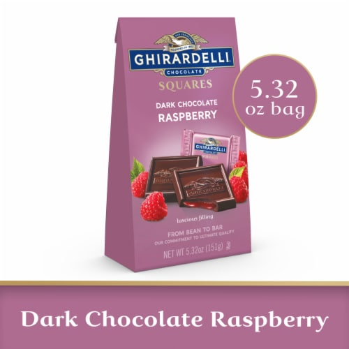 Ghirardelli Raspberry Filled Dark Chocolate Squares Perspective: front