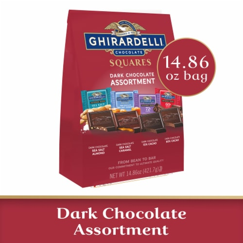 Ghirardelli Dark Chocolate Assortment Squares Perspective: front