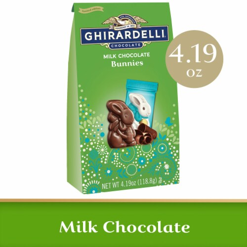 Ghirardelli Milk Chocolate Bunnies Bag Perspective: front
