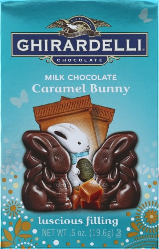 Ghirardelli Milk Chocolate Luscious Filling Caramel Bunny Perspective: front