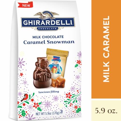 Ghirardelli Milk Chocolate Caramel Snowman Perspective: front