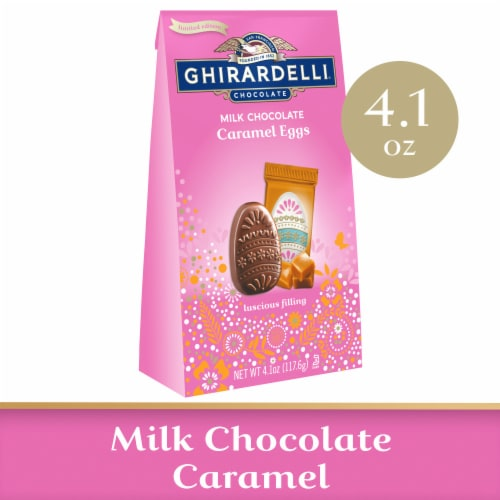 Ghirardelli Milk Chocolate Caramel Eggs Perspective: front